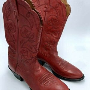 Ariat 7.5 Red Leather Heritage Cowboy Boots